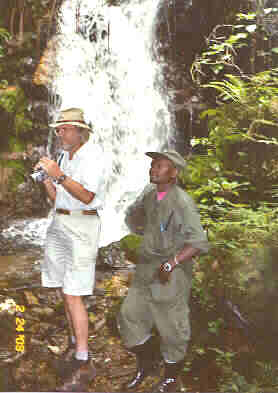 We stay at Munyaga Falls only briefly before heading back to camp.  My trusty video camera is always at the ready.  Photo by Jungle Jim.